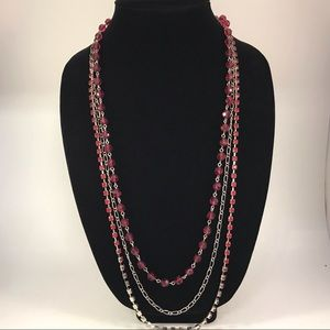 Red beaded necklace multi strand